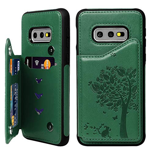Galaxy S10E Case Wallet TPU Cover ID/Credit Card Slot Sturdy Snap Buttons Drop Resistant Flexible Soft TPU Bumper PU Leather Skining Slim Reinforced Protective Cover for Samsung Galaxy S10E Mint Green