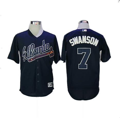 Camiseta de béisbol Dansby Swanson No. 7 Braves, Bordada con el Nombre del Jugador y el número Masculino/Femenino/Juvenil: Amazon.es: Deportes y aire libre