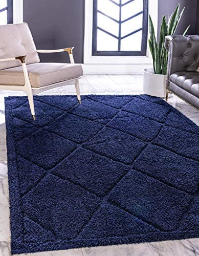 Unique Loom Trellis Shag Collection Plush Geometric Modern Moroccan Lattice Navy Blue Area Rug 9 0 x 12 0