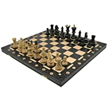 Ambassador Chess Wooden - Black Board 21x21 Inches