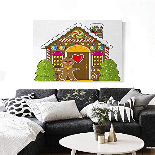 homehot Gingerbread Man Wall Paintings Cute Gingerbread House with Colorful Candies Cookie Man Graphic Figure Print On Canvas for Wall Decor 20