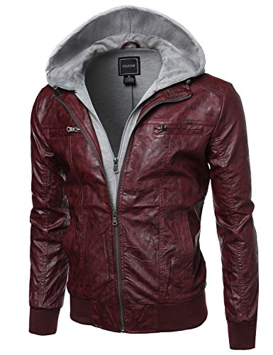 Refined faux-leather moto jacket with Fleece Hood Attached Burgundy Size L