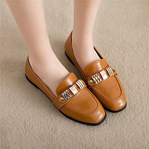 Carolbar Women's Western Concise Flat Metal Ornament Loafer Shoes Yellow Z7EzaXl
