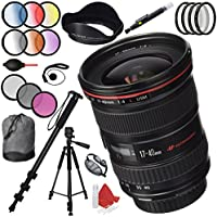 Canon EF 17-40mm F/4 L USM Lens with 77mm Filter Sets Plus Pro Monopod and Accessories Kit
