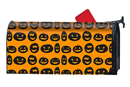 Verna Christopher Rust-Proof Mail Box Covers Halloween Face Orange Mailbox Makeover Cover ()