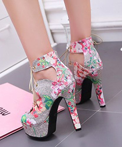 High Womens Up Toe Print Aisun High Peep Dressy Elegant Platform Lace Floral Sandals Stiletto Heels Top Pink 7qqwT