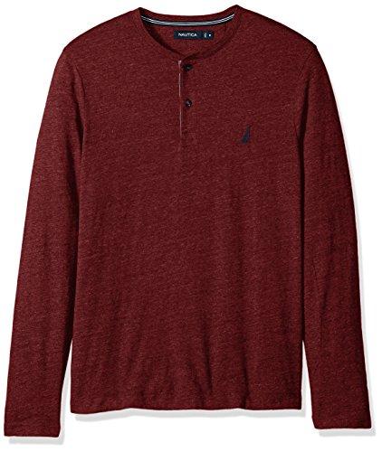 Nautica Men's Long Sleeve 3 Button Henley Shirt, Royal Burgundy, Large