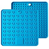 Emoly Heart-Shaped Silicone Trivet Mats Pot Holders Spoon Rest Coasters Heat Resistant Insulation Pad Kitchen Tool-Blue