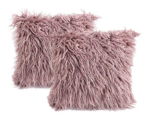- 3C Collection 2 Pack Fluffy Throw Pillow Covers Purple 18x18 inch/45x45cm, Soft Cuddly Faux Mongolian Fur Cushion Cover for Bed & Couch Decorative Furry Throw Pillow Cases
