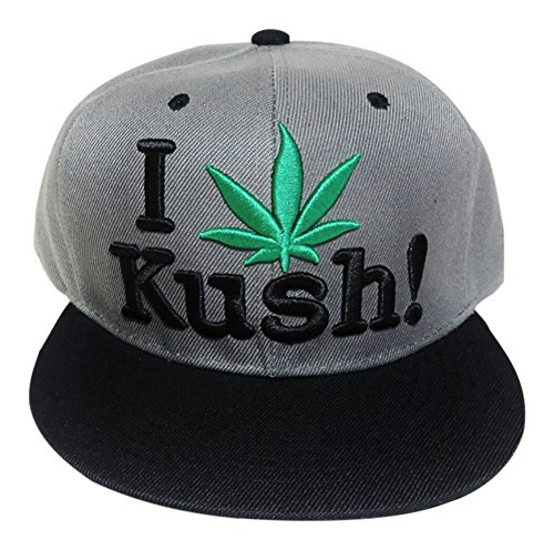 I Love Kush Marijuana Grey/Black Flat Bill Baseball Cap Hat Headwear