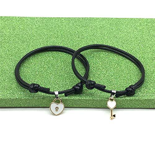 2Pcs/Lot Key Heart Lock Charm Bracelets for Woman Men Fashion Simple Wristband Jewelry Rope Chain Couple Bracelet Pulseras Gifts,White ()