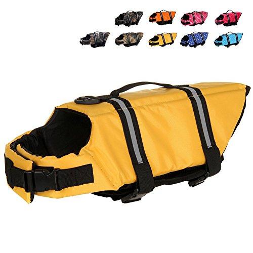 Mummumi Dog Life Jacket, Adjustable Dog Swim Vest with Handle Pet Puppy Saver Swimming Lifejackets Vest Coat (XXS, Yellow)