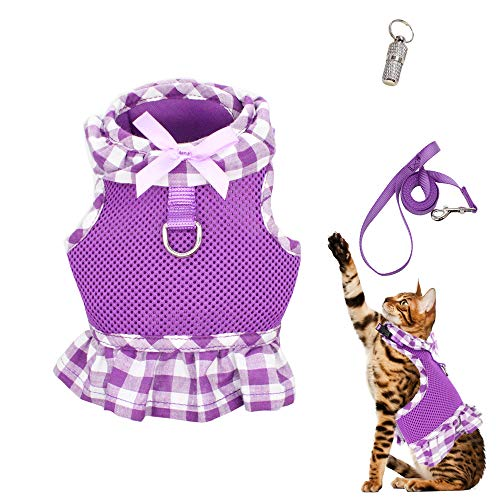 WONDERPUP Escape Proof Cat Dog Harness with Leash Set- Adjustable Soft Mesh with D-Ring for Kitty Puppy Rabbits Small Dogs Animal Purple M (D-ring Harness Cat)