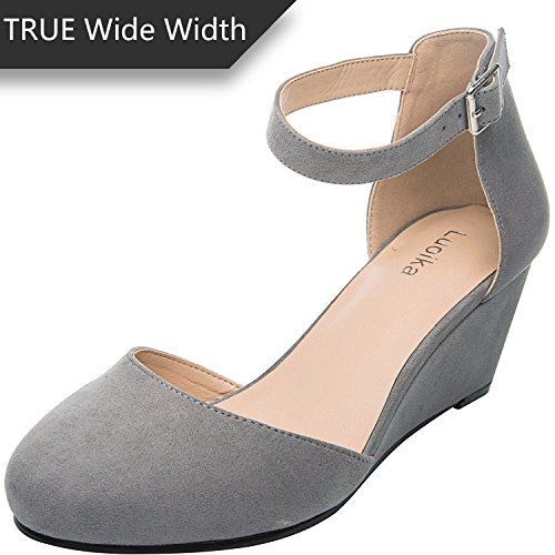 Luoika Women's Wide Width Wedge Shoes - Comfortable Mid Low Heel Ankle Buckle Strap, Plus Size Heel Pump Round Closed Toe(180323,Grey,size8.5) (Wide Shoes Wedge)