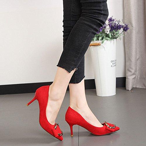 GTVERNH Damenschuhe Diamond Schnallen 7Cm High High High Heels Frühling Samt Flach Sexy Spitze Schöne Schuhe Meine Schuhe. 07a36f
