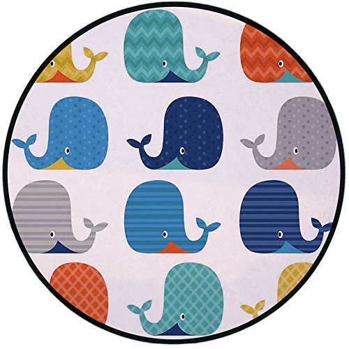 - Printing Round Rug,Kids,Fish Sea Nautical Funny Colorful Whales in Stripes Dots Geometric Zig Zag Chevron Print Mat Non-Slip Soft Entrance Mat Door Floor Rug Area Rug For Chair Living Room,