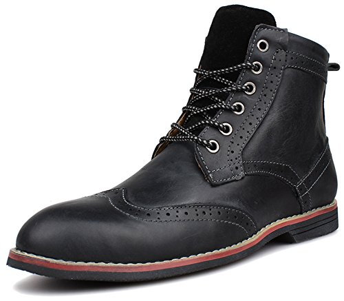 Kunsto Men's Leather Classic Brogue Boots Lace up US Size 11.5 Black