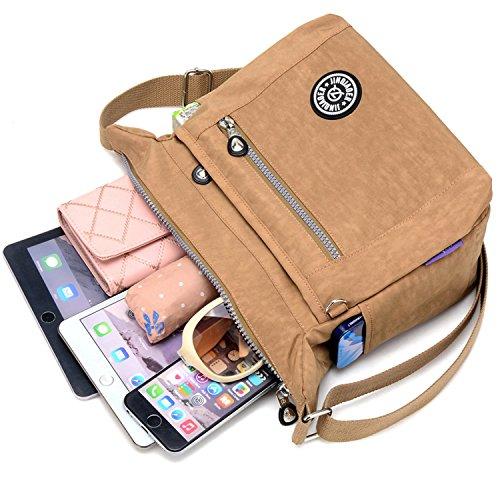 MeCooler Umhängetasche Mädchen Kuriertasche Wasserfeste Handtasche Messenger Bag Damen Taschen Designer Schultertasche Sporttasche für Reisetasche Strandtasche Nylon Beige