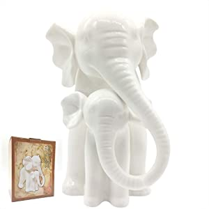 Anding Home Decoration White Porcelain Mother and Baby Elephant Statue/Figurine in High Gloss Finish