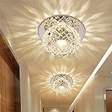 Ginamart Modern Crystal 5W LED Ceiling Light Fixture 85-265V Flush Mount Aisle/Corridor/Porch Light Pendant Lamp Lighting Chandelier (Warm White)
