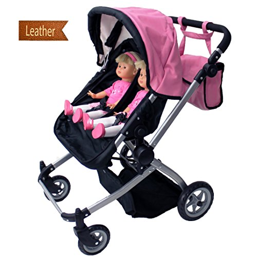 Babyboo Luxury Leather Look Twin Doll Pram Stroller With