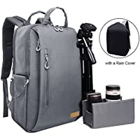 Auelife Camera Bag Waterproof Multipurpose Anti-shock DSLR Camera Backpack for Nikon Sony Canon SLR/DSLR Cameras Mirrorless Lens and Tripod Larger Size with a Rain Cover,Dark Gray
