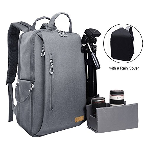 Price comparison product image AueliAuelife Camera Bag Waterproof Multipurpose Anti-shock DSLR Camera Backpack for Nikon Sony Canon SLR/DSLR Cameras Mirrorless Lens and Tripod Larger Size with a Rain Cover,Dark Gray