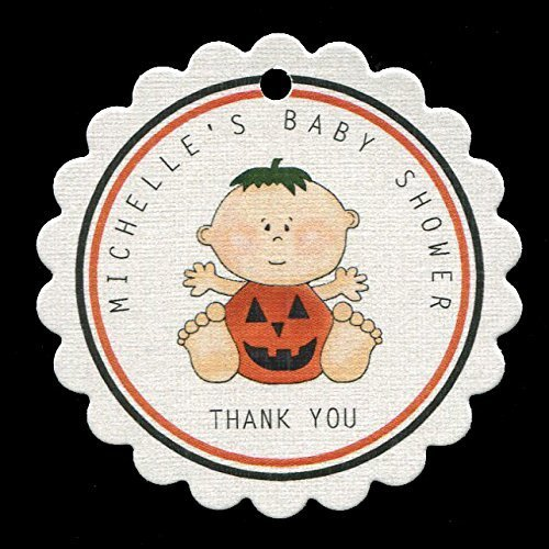 Baby Shower Favor Tags, Halloween Pumpkin, Personalized (set of 25)]()