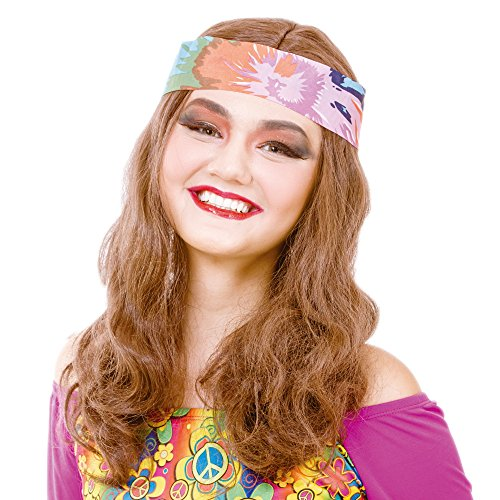 Hippy Girl Brown Curly Cosplay Wig-Synthetic Women's 70s Hippie Chick Costume Halloween Party Wigs with Headband