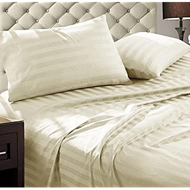 Addy Home Fashions Damask Stripe 1000 Thread Count Ultra Soft Egyptian Cotton King Combed Yarns Sheet Set, Ivory