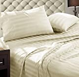 Addy Home Fashions Damask Stripe 1000 Thread Count Ultra Soft Egyptian Cotton Queen Combed Yarns Sheet Set, Ivory