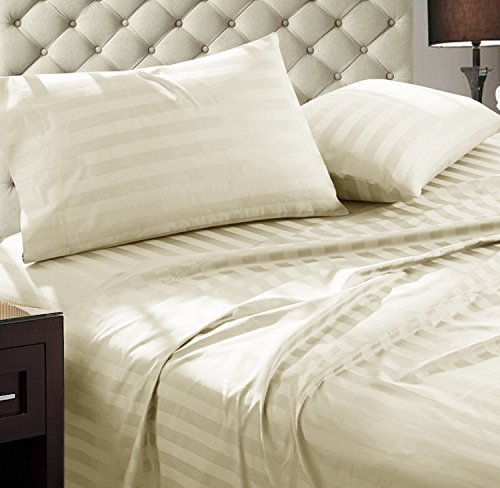 - Addy Home Fashions Damask Stripe 1000 Thread Count Ultra Soft Egyptian Cotton Queen Combed Yarns Sheet Set, Ivory