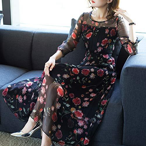 La Donne Floreale Bingqz Xxl Nuove Modo Autunno Signore Il Seta Vestito Ha Elegante Temperamento Lunga Di Gonna Delle BxwP8pB6q