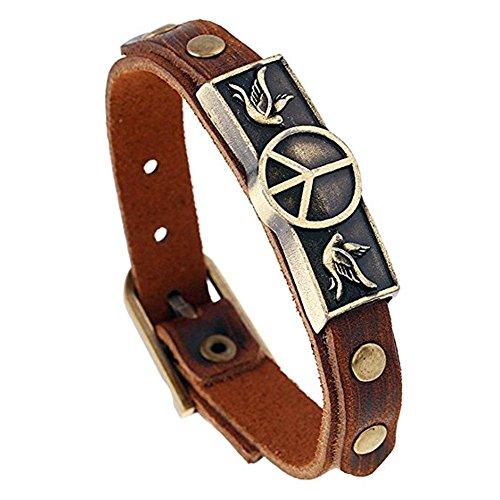 Yel and Elf Leather Bracelet for Men Women Peace Symbol Belt Buckle Wrist Cuff Bracelet Adjustable