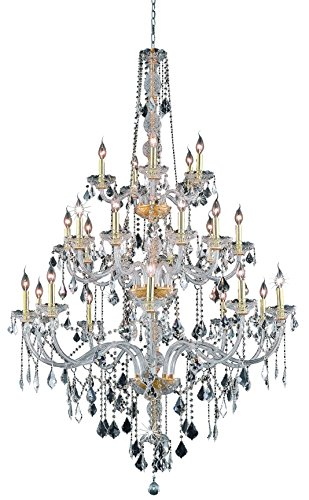 Elegant Lighting 7825G43G-RC 43 Dia. x 68 H in. Verona Collection Large Hanging Fixture - Gold Finish, Royal - Verona 44 Collection