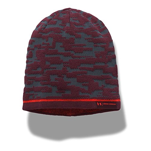 Under Armour Men's Reversible Graphic Beanie, Stealth Gray (008)/Red, One Size