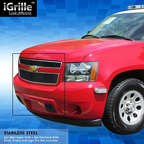 Off Roader Black Stainless Steel eGrille Billet Grille Grill Combo for 2007-2014 Chevy/Suburban/Avalanche ()