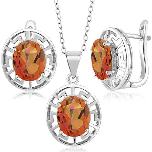 (Gem Stone King 8.10 Ct Twilight Orange Mystic Quartz 925 Silver Pendant Earrings Set With Chain)