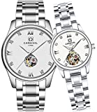 CARNIVAL His or Hers Automatic Mechanical Couple Watch Men and Women Gift Set of 2 (White)