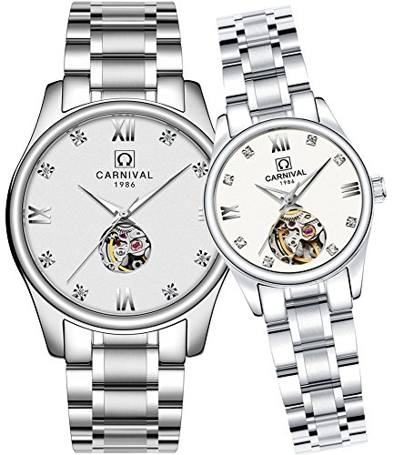 CARNIVAL His or Hers Automatic Mechanical Couple Watch Men and Women Gift Set of 2 (White) by Carnival