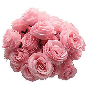 cn-Knight Artificial Flowers 50PCS Silk Rose with Wire Stem Real-Touch Fake Rose for DIY Wedding Décor Bride&Bridesmaid Bouquets Home Office Baby Shower Party Prom Centerpieces Arch Garland(Pink) 9