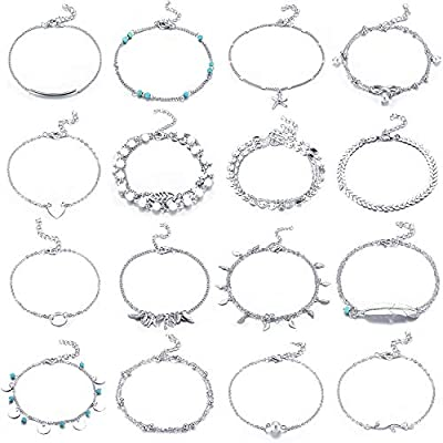 Yaomiao 16 Pieces Beach Ankle Bracelets Adjustable Anklets Boho Ankle Chains Foot Jewelry Set for Women Girls