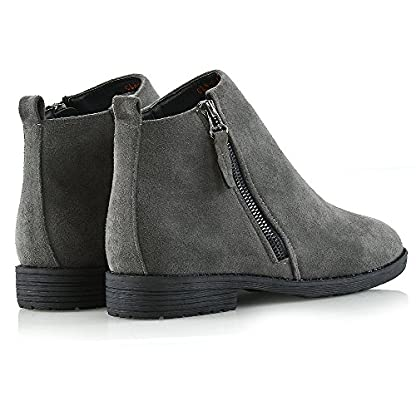 ESSEX GLAM Womens Chelsea Block Heel Riding Biker Metal Zip Ladies Flat Ankle Boots Size 3-8 3
