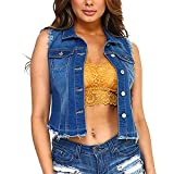 Fashionazzle Women's Buttoned Basic Solid Denim Vest Jacket (Small, DSV04-Medium)