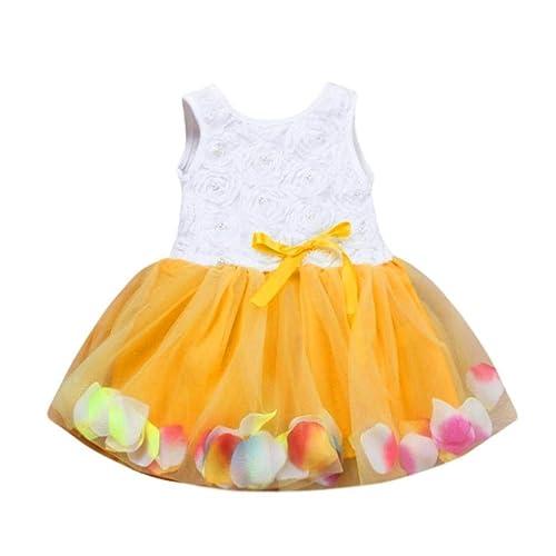 Amazon Com Goodtrade8 Toddler Baby Girl Sundress Ruffle Floral Tutu Petals Tulle Skirt Bowknot Dresses Shoes