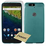 Fenzer Light Blue Transparent TPU Soft Ultra Slim Thin Rubber Gel Case Cover Skin for Huawei Nexus 6P with Screen Protector