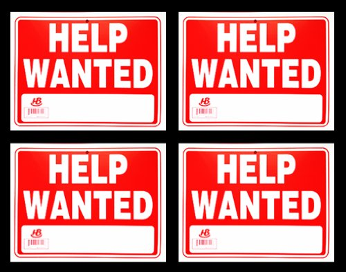 Home Bay Help Wanted Plastic Sign, 9 X 12-Inch (Pack of 4) ()