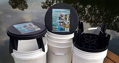 The Original Bucket Stool for 3.5 Gallon and 5 Gallon Buckets Used for Fishing Chair, Camping Lid, Gardening Seat, Hunting, Tailgating, and Cleaning (1 Pack)