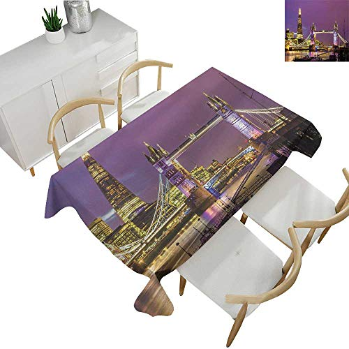 London,Decor Collection Table Cloths Tower Bridge in London at Night Historical Cultur Monument Europe British Urban Table Cover for Rectangular Table Purple Yellow 60