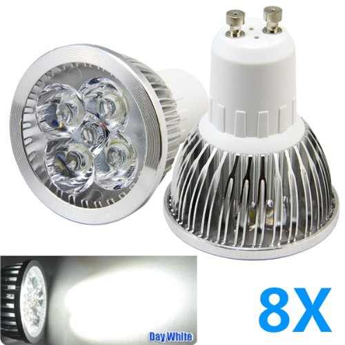 Bao Xin ] Ultra Slide 4W Pure White LED Bulbs 6000K Energy Saving and Perfect for Replacing 40-50 W Halogen Bulbs (50X65 MM) (8 piece)